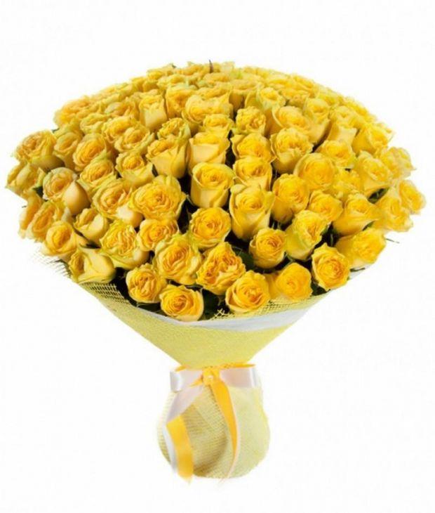 101 роза 50 см желтая