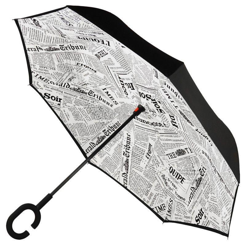 Зонт наоборот (Обратный зонт) (Цвет: Белая Газета)
