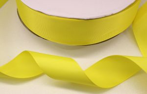 Лента репсовая однотонная 25 мм, длина 25 ярдов, цвет: желтый