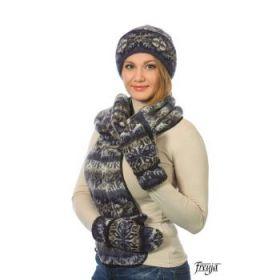 Комплект шапка, шарф, варежки 08197-86