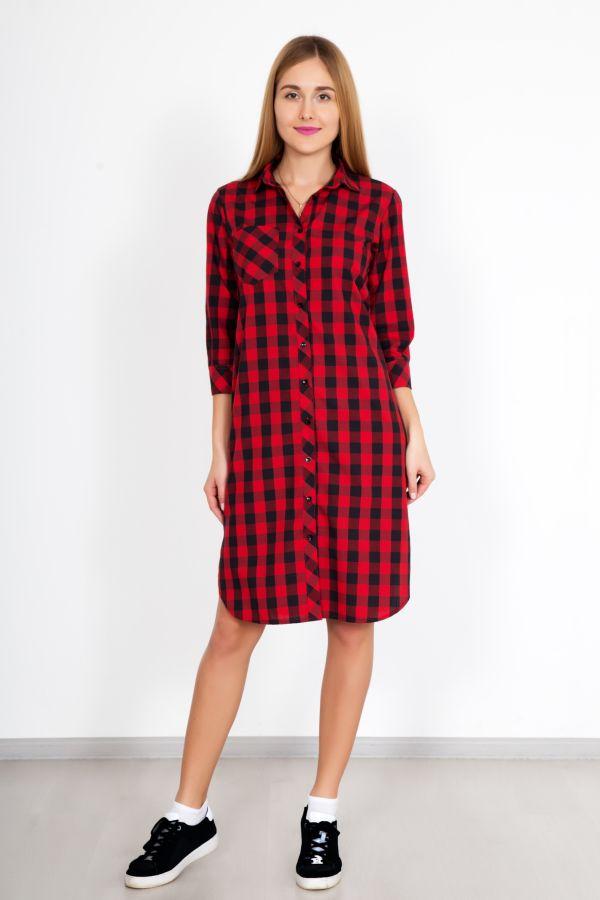 """Платье-рубашка """"Биатрисс"""" красная"""