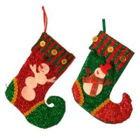 Носок для подарков Санта, Снеговик , H 19 см  11385