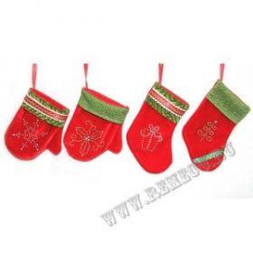 Варежка/Носок для подарков, Н 13/17 см, 4 в. / текстиль  11535