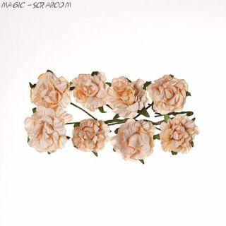 """Розы из бумаги персиковые """"Кудрявые"""""""