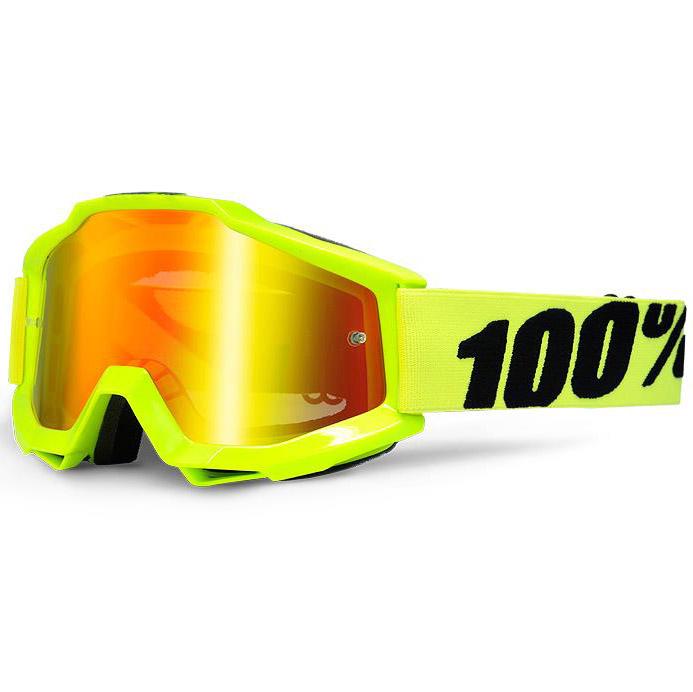 100% - Accuri JR Fluo Yellow очки подростковые, линза зеркальная красная