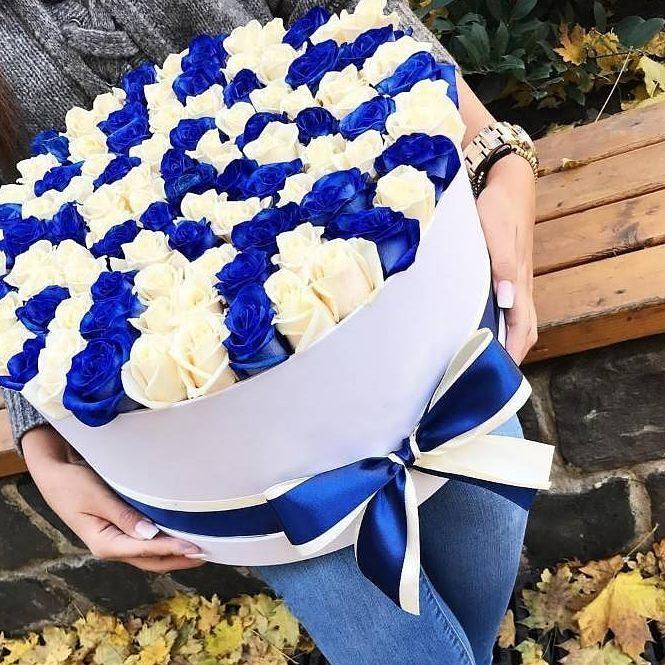 101 роза сине белое облако