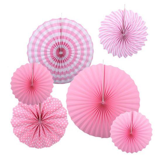 Набор из 6 фантов Розовый с узором