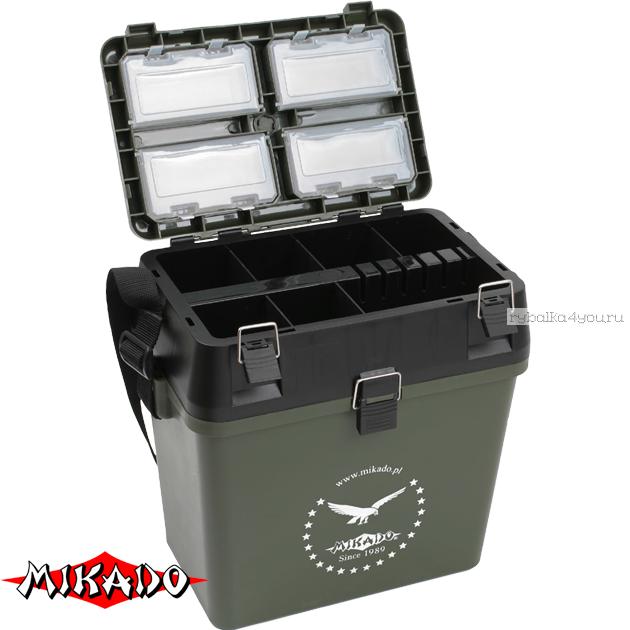 Купить Зимний рыболовный ящик Mikado ABM 317 зелёный (37 x 24 37.5 см.)