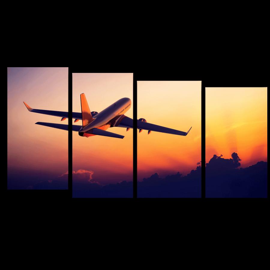 Модульная картина Самолет на взлете