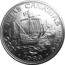 Португалия 100 эскудо 1989 г. Золотой век открытий - Открытие Канарских островов.