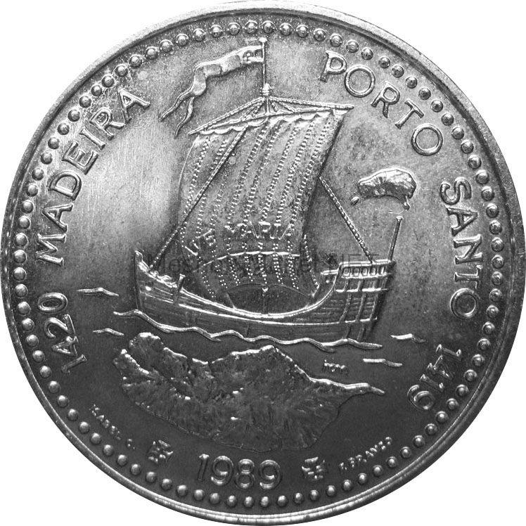 Португалия 100 эскудо 1989 г. Золотой век открытий - Открытие острова Мадейра.