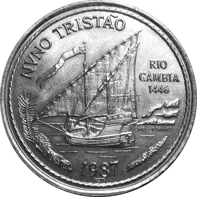 Португалия 100 эскудо 1987 г. Золотой век открытий - Нуну Триштан.