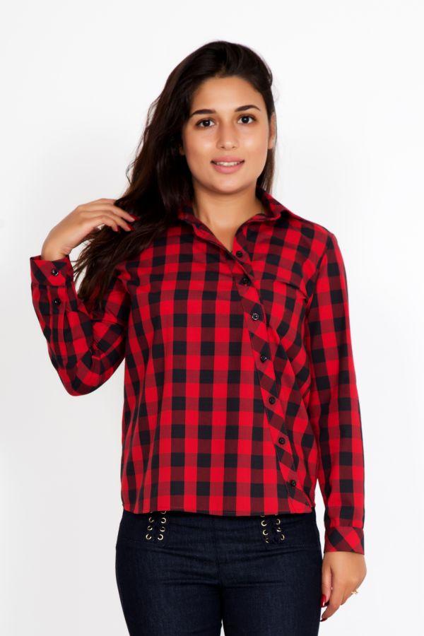 """Женская рубашка """"Косуха"""" красная"""