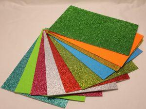 """Фоамиран """"глиттерный"""" с клеевой основой, Китай, толщина 2 мм, размер 20x30 см, цвет МИКС (3 набора по 10 листов)"""
