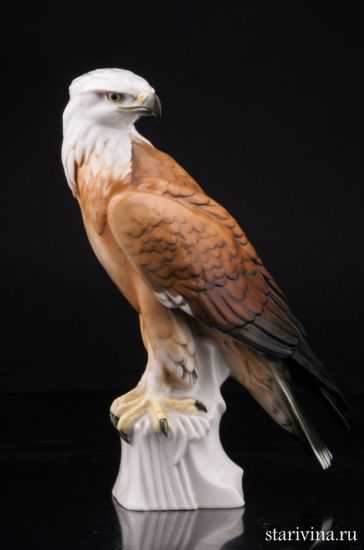Антикварная старинная фарфоровая статуэтка Белоголовый орлан производства Karl Ens, Германия, 1920-30 гг.