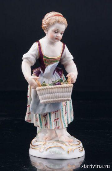Изображение Девочка с корзиной фруктов, Meissen, Германия, 19 в