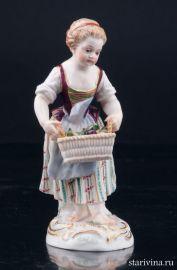 Девочка с корзиной фруктов, Meissen, Германия, 19 в., артикул 03176