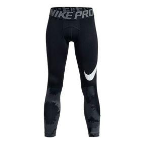 Детское термобельё (низ) Nike Pro Combat Hyperwarm Tights All-over Print чёрное