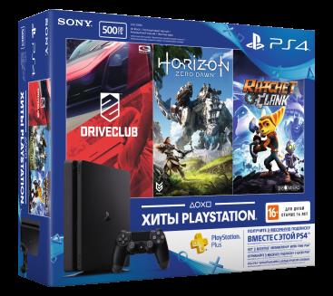 Sony PlayStation 4 Slim 500 Гб + 3 Игры: DriveClub + Horizon Zero Dawn + Ratchet Clank + PSN 3месяца PS4