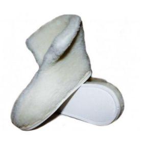 Тапочки теплушки высокие из овечьей шерсти белые