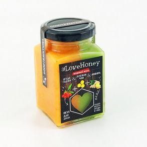 Медовый мусс с ягодой годжи, зеленым чаем и имбирем, 340 гр