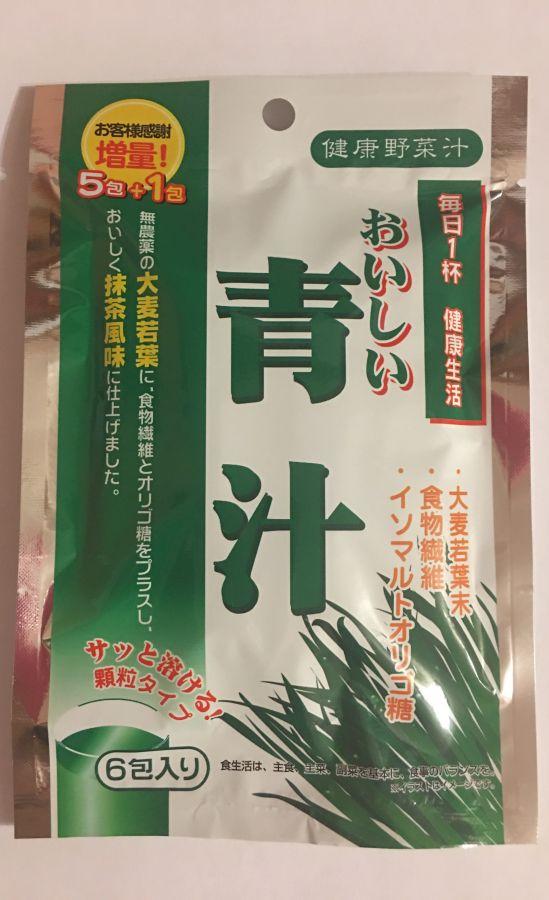 Зеленый сок Аодзиру из побегов ячменя, 6шт.
