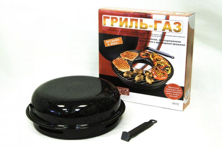 Сковорода гриль газ D-518 с эмалированным покрытием с мраморной крошкой