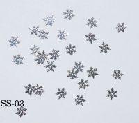 "Логотип ""Снежинки ажурные серебро"", 25 штук SS-03"