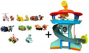 Большой Офис (Башня) Спасателей + команда из 9 спасателей с машинками:  (Гонщик, Скай, Крепыш, Зума, Маршал, Роки, Райдер, Робопес) (Щенячий патруль)