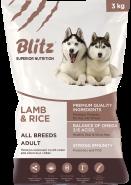 Blitz Adult сухой корм для взрослых собак всех пород с ягненком и рисом 15 кг