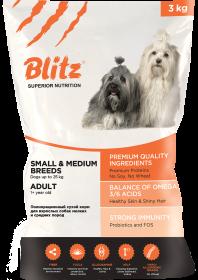 Blitz Adult сухой корм для взрослых собак мелких и средних пород 3 кг