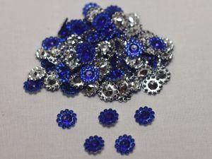 Кабошон, акрил, 10 мм, цвет: синий (1уп = 100шт)