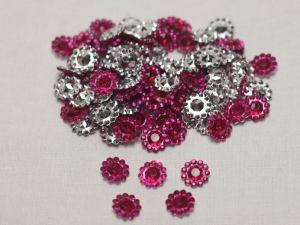 Кабошон, акрил, 10 мм, цвет: ярко-розовый (1уп = 100шт)