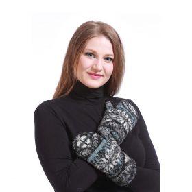 Варежки женские вязаные из Исландской шерсти 08497-71