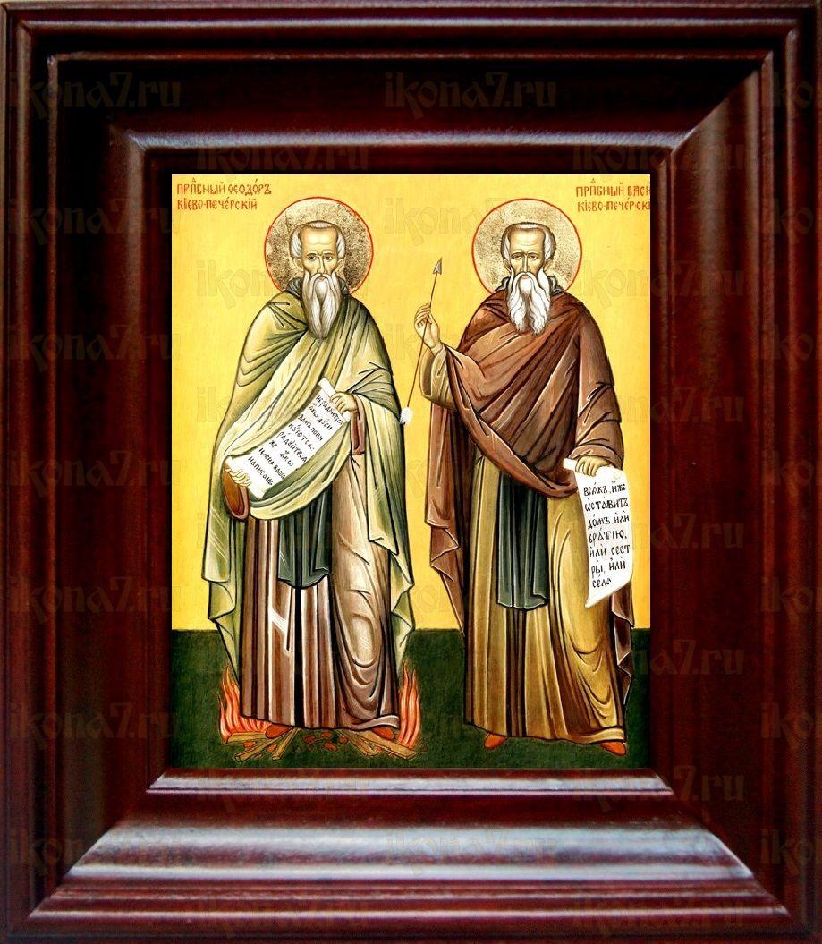 Василий и Феодор Печерские (21х24), простой киот