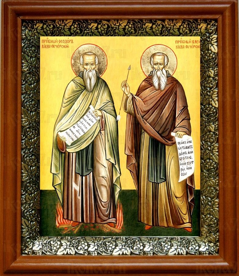 Василий и Феодор Печерские (19х22), светлый киот