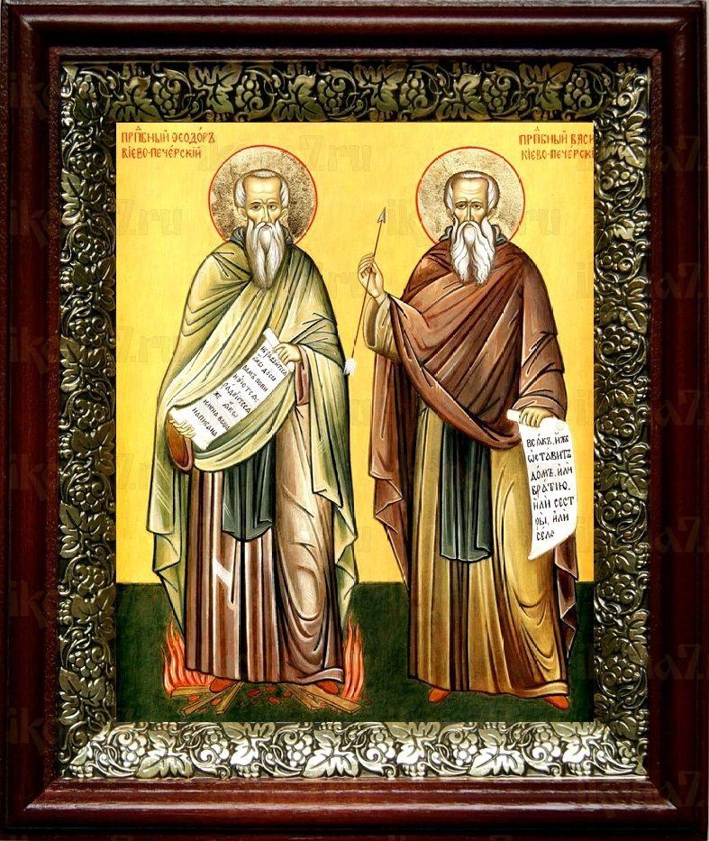 Василий и Феодор Печерские (19х22), темный киот