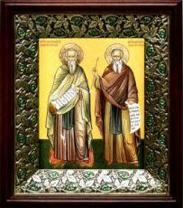 Василий и Феодор Печерские (21х24), киот со стразами