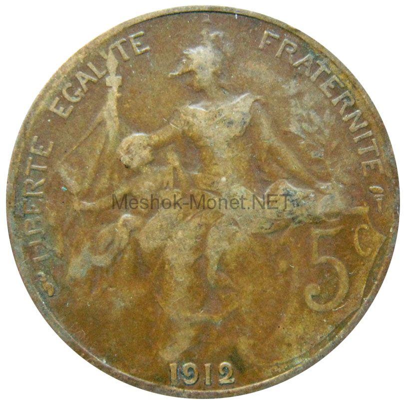 Франция 5 сентим 1912 г.