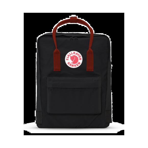 Рюкзак Fjallraven Kanken classic Blcak-Ox-Red(w) (Черный с красными ручками) 550/326