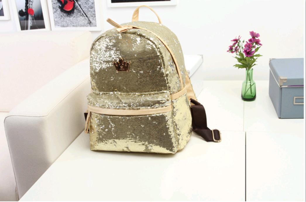 Женский рюкзак с блестками (Золотой)