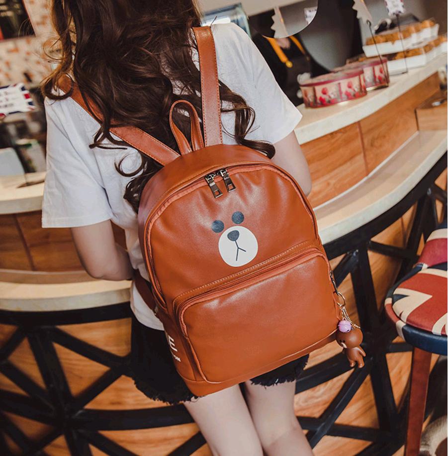 Рюкзак кожаны мишка (коричневый)