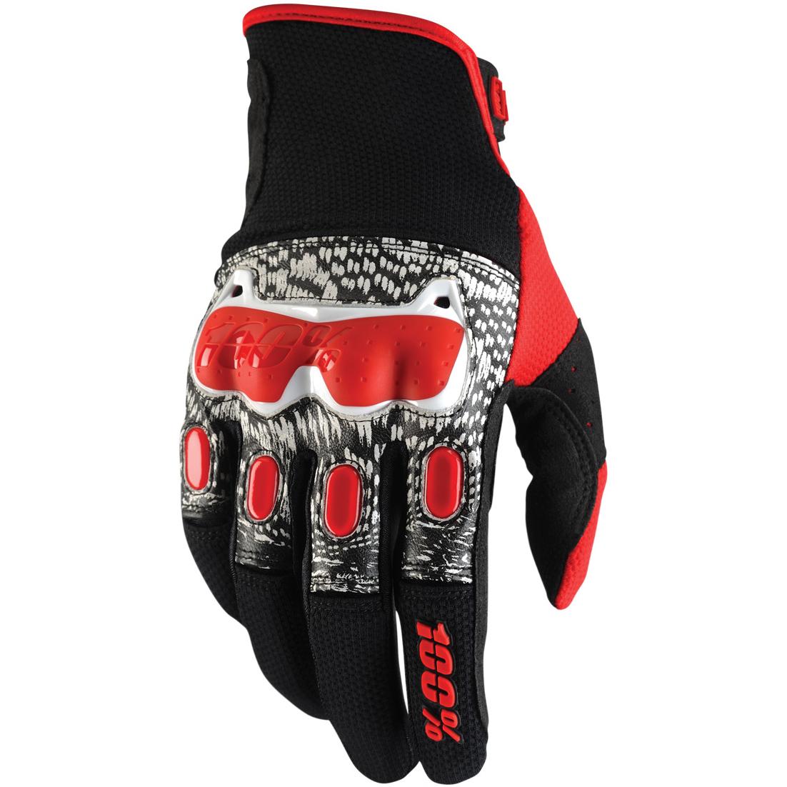 100% - Derestricted Black/White/Red перчатки, черно-бело-красные