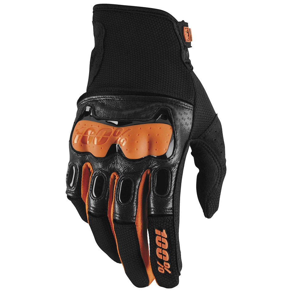 100% - Derestricted Black/Orange перчатки, черно-оранжевые