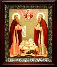 Зосима и Савватий Соловецкие (19х22), темный киот