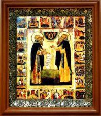 Зосима и Савватий Соловецкие (19х22), светлый киот