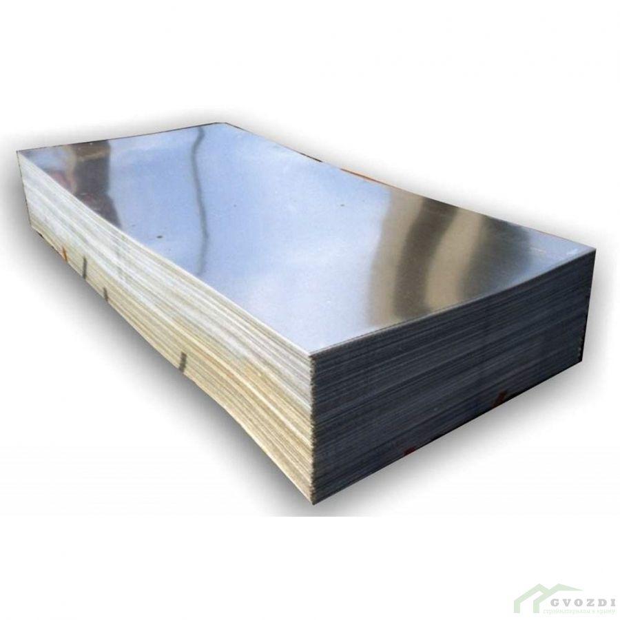 Плоский лист оцинкованный 1250 мм, длина - 1,0 метр, толщина - 0,7 мм
