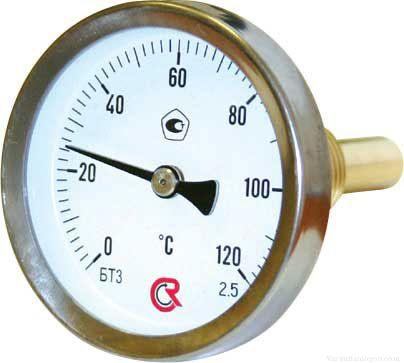Термометр биметаллический осевой 0-120С°
