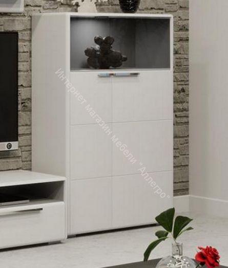 Шкаф комбинированный с 2-мя дверями «Наоми» (Белый глянец)