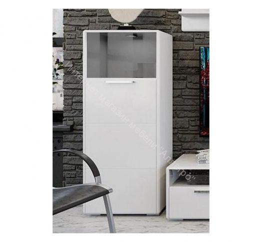 Шкаф комбинированный с 1-ой дверью «Наоми» (Белый глянец)